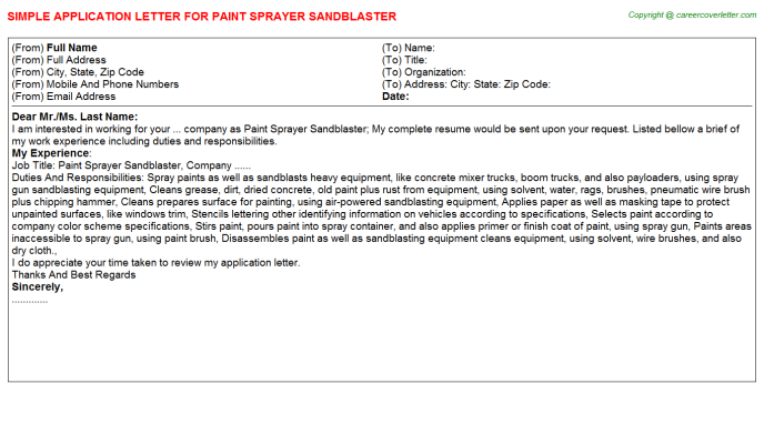 paint sprayer sandblaster application letter template