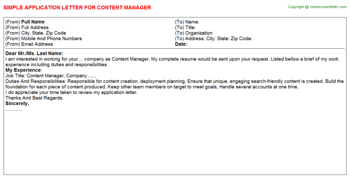 Content Manager Application Letter Template
