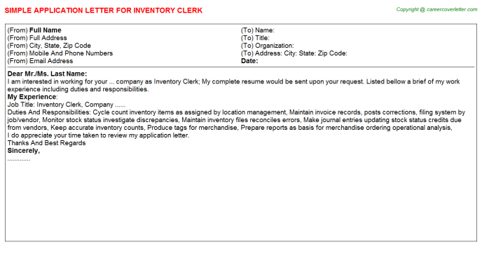 Inventory Clerk Application Letter Template