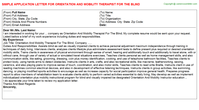 Orientation And Mobility Therapist For The Blind Application Letter Template