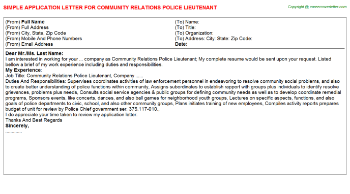 community relations police lieutenant application letter template