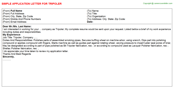 Tripoler Application Letter Template