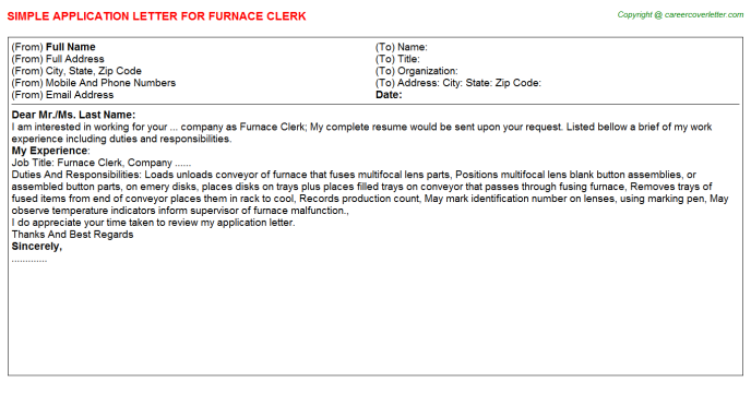 Furnace Clerk Job Application Letter Template