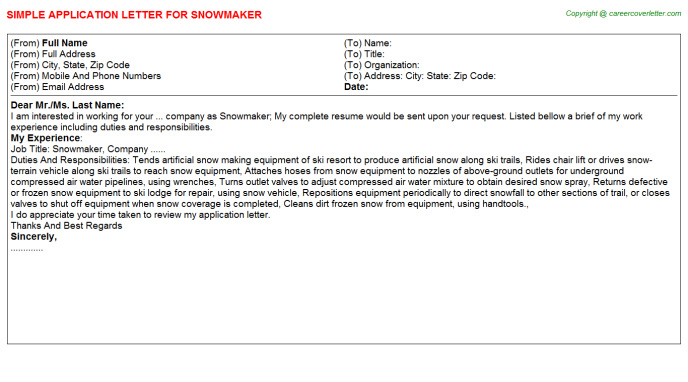 Snowmaker Application Letter Template