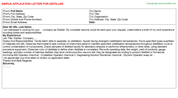 Distiller Application Letter Template