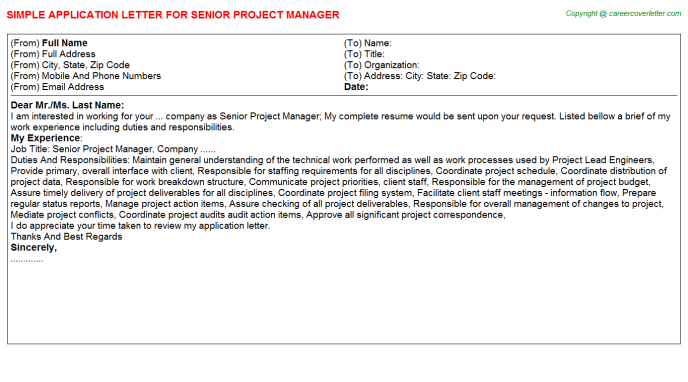 Senior Project Manager Application Letter Template