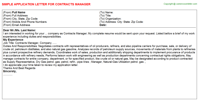 Contracts Manager Application Letter Template