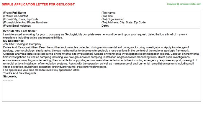 Geologist Application Letter Template