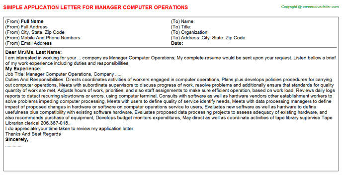 Manager Computer Operations Job Application Letter Template