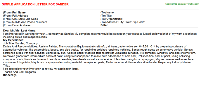 Sander Application Letter Template