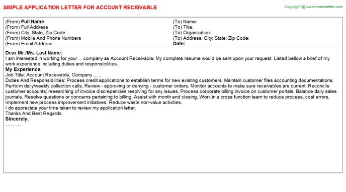 Account Receivable Application Letter Template