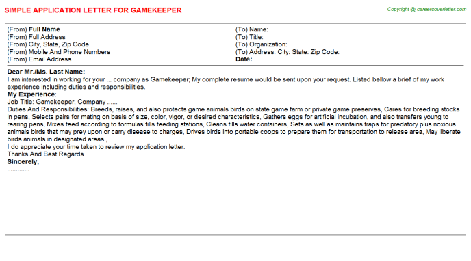 Gamekeeper Job Application Letter Template