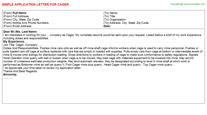 Cager Job Application Letter Template