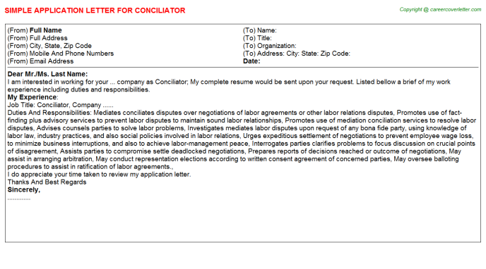Conciliator Job Application Letter Template