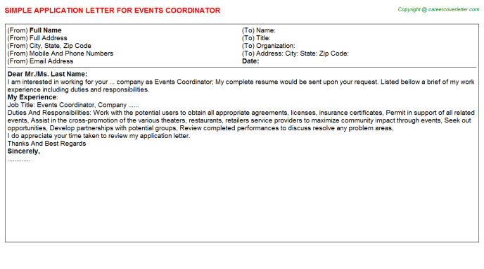 Events Coordinator Application Letter Template