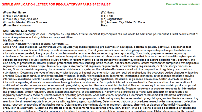 Regulatory Affairs Specialist Application Letter Template