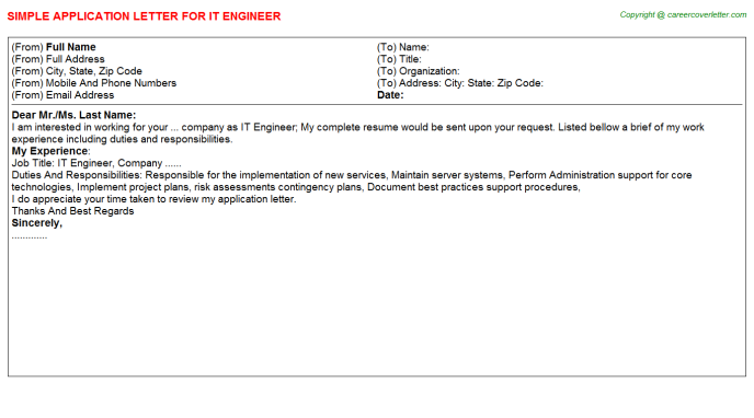 IT Engineer Application Letter Template