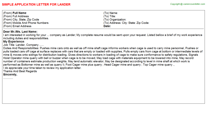 Lander Application Letter Template