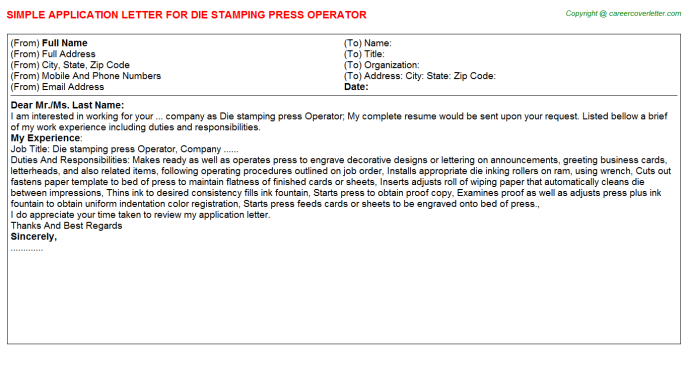 Die stamping press Operator Job Application Letter Template
