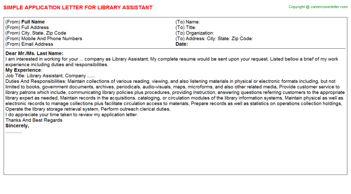 Library Assistant Application Letter Template