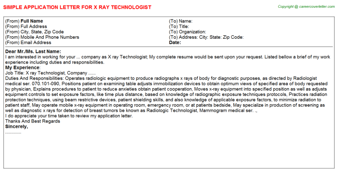 X ray Technologist Job Application Letter Template