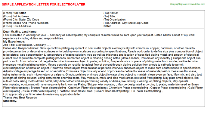 Electroplater Application Letter Template