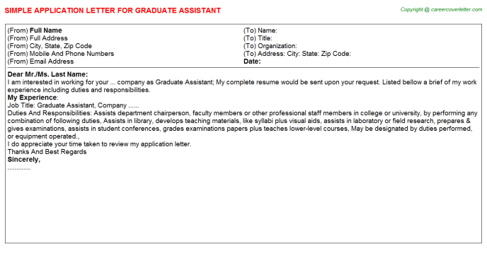 Graduate Assistant Application Letter Template