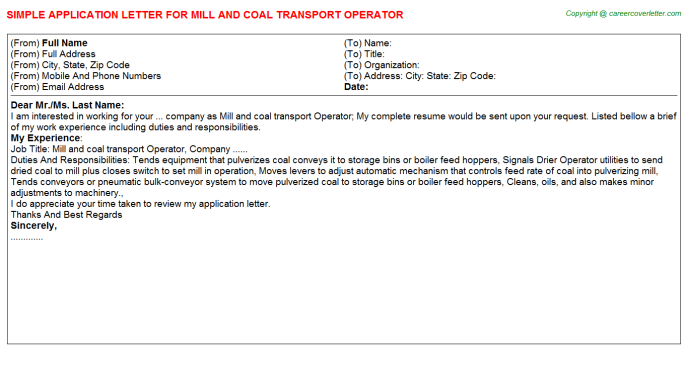 Mill and coal transport Operator Application Letter Template