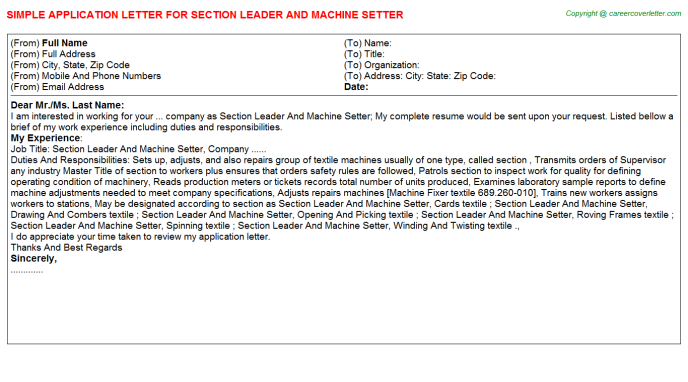Section Leader And Machine Setter Job Application Letter
