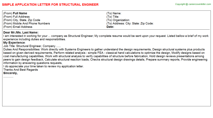 Structural Engineer Application Letter Template