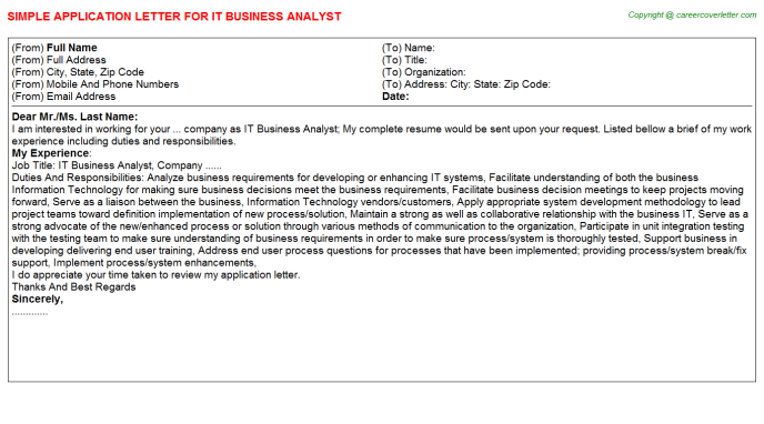 IT Business Analyst Application Letter Template