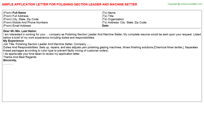 Polishing Section Leader And Machine Setter Job Application ...