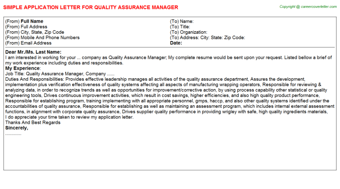 Quality Assurance Manager Application Letter Template