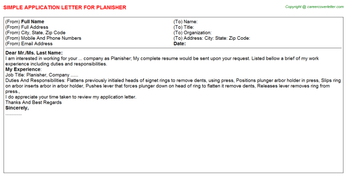 Planisher Job Application Letter Template