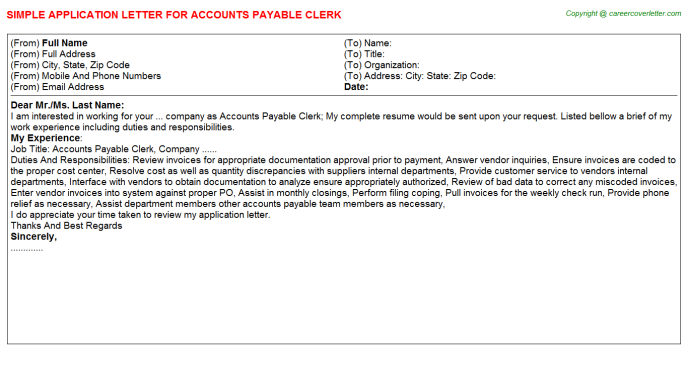 Accounts Payable Clerk Application Letter Template