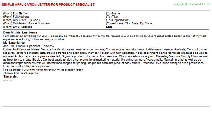 product specialist application letter template