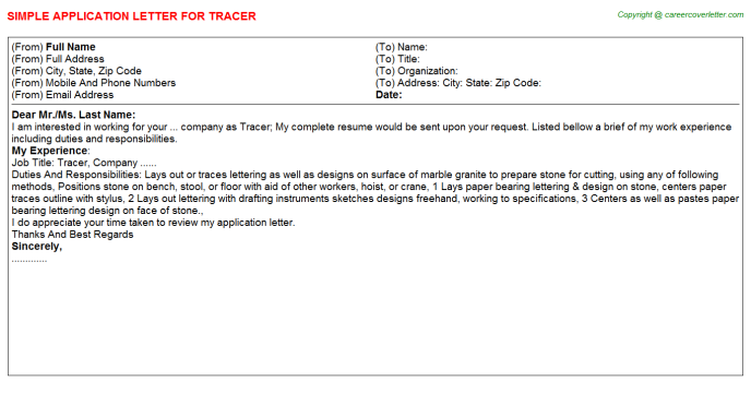 Tracer Job Application Letter Template