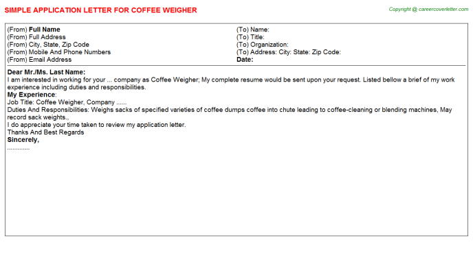 coffee weigher application letter template