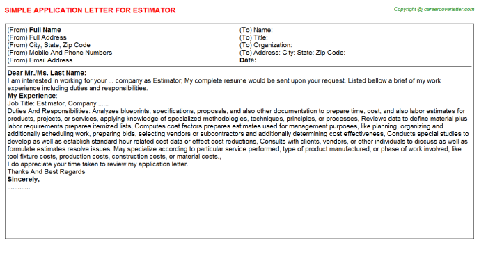 Estimator Job Application Letter Template