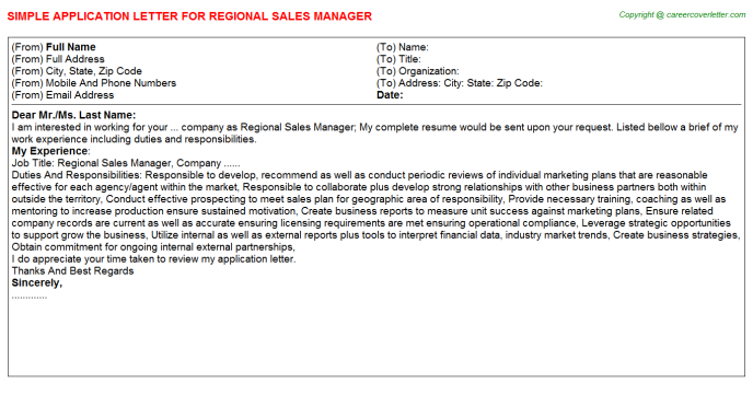 Regional Sales Manager Application Letter Template