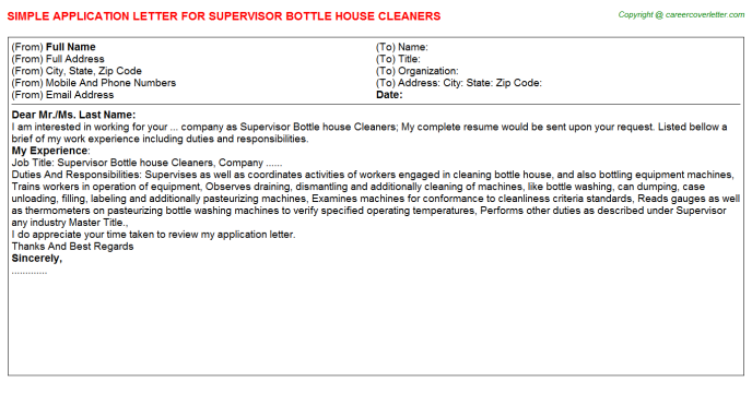 supervisor bottle house cleaners application letter template