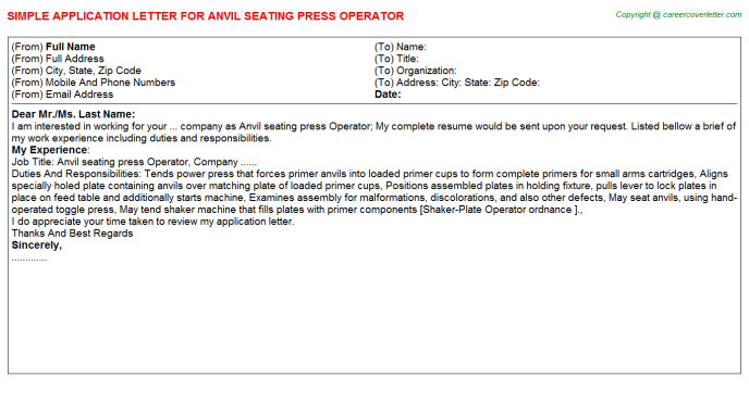 Anvil Seating Press Operator Application Letter Template