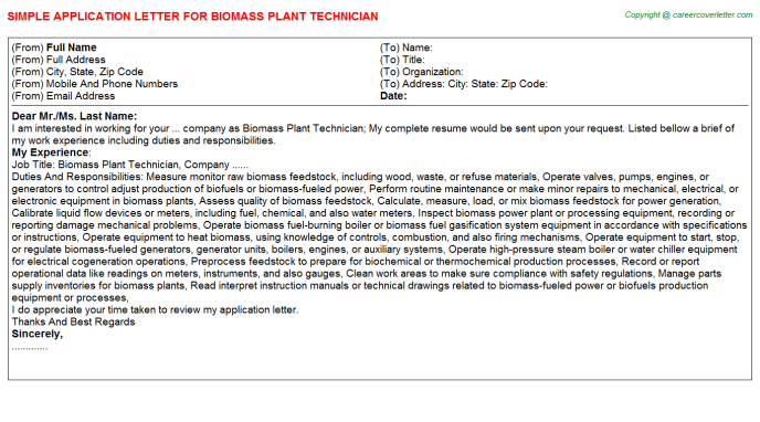 Biomass Plant Technician Application Letter Template