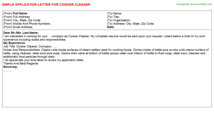 cooker cleaner application letter template