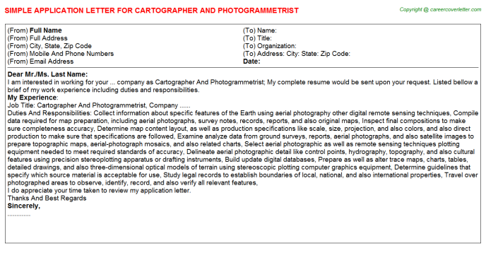 Cartographer And Photogrammetrist Application Letter Template