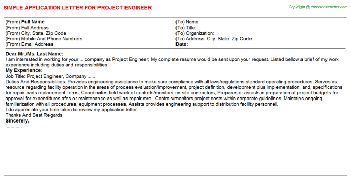 Project Engineer Application Letter Template
