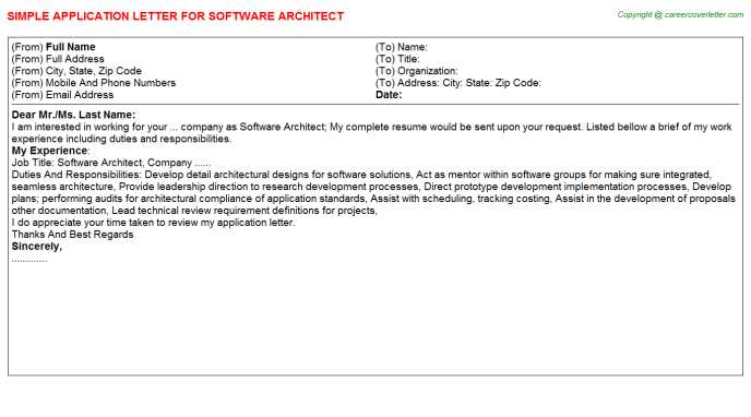Software Architect Application Letter Template
