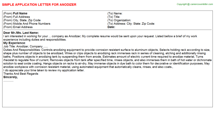 Anodizer Application Letter Template