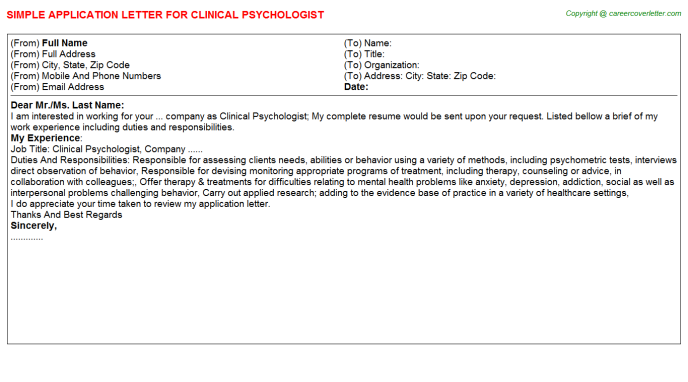 Clinical Psychologist Application Letter Template