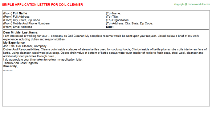 coil cleaner application letter template